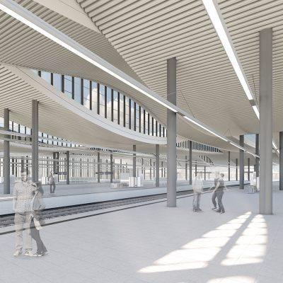 Visualisierung: Innenraum Gleishalle Duisburg Hauptbahnhof (Quelle: DB Station&Service AG)
