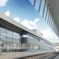 Visualisierung: Gläserne Fassade des Bahnhofs (Quelle: DB Station&Service AG/I.SBP)