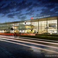 Visualisierung: Das neue Empfangsgebäude bei Nacht (Quelle: DB Station&Service AG,/I.SBP)