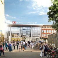 Visualisierung: Das neue Empfangsgebäude von der Windhorststraße aus (Quelle: DB Station&Service AG/I.SBP)